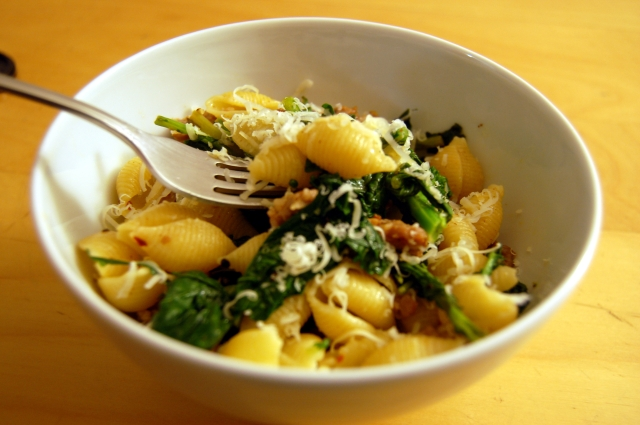 Pasta with Sausage and Broccoletti 2
