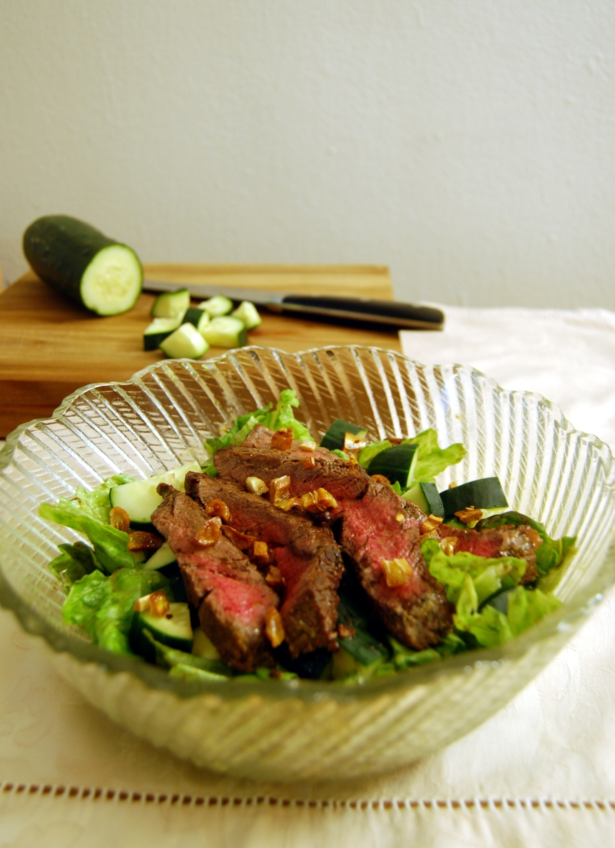 Quick-Marinated Steak Salad and Caramelized GarlicDressing