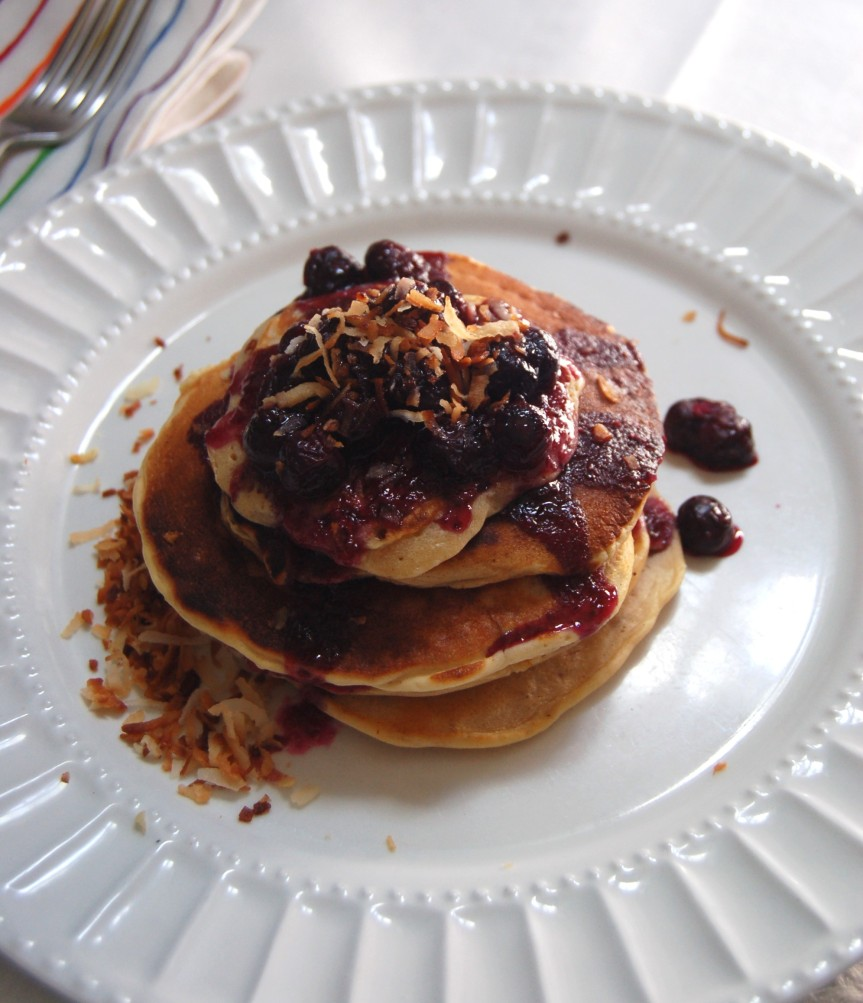 Toasted Coconut Pancakes with Blueberry Rum Compote