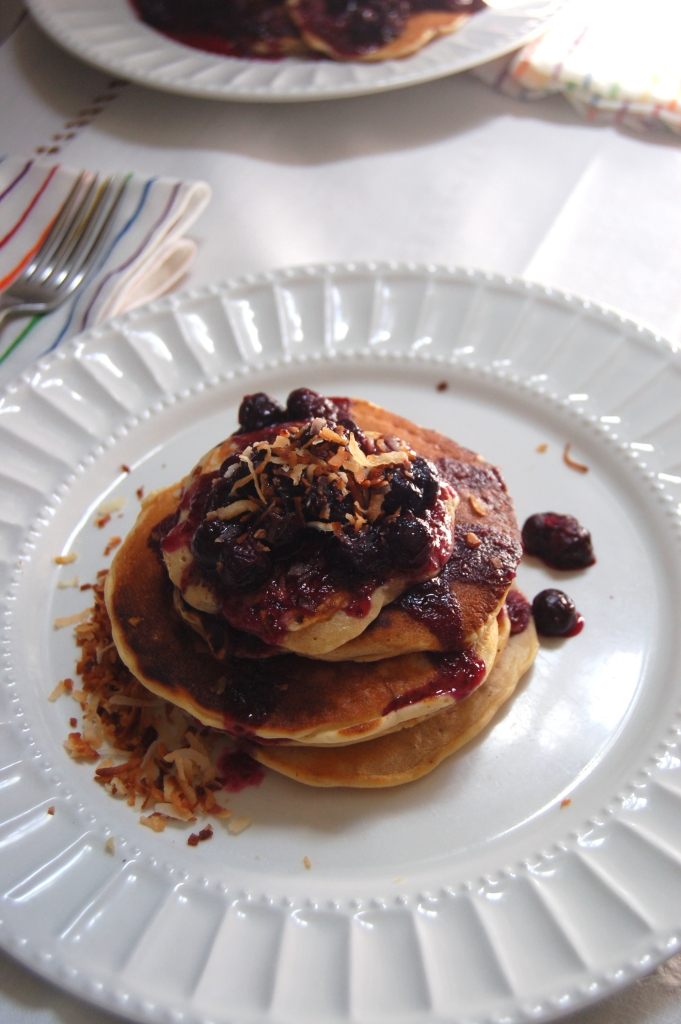 Coconut Pancakes with Blueberry Rum Compote