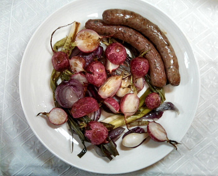 Lamb Sausage and Roasted Summer Veggies