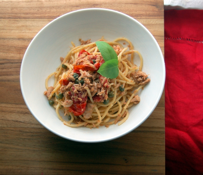 Pasta with Tuna, Tomatoes, Capers, and Basil 3