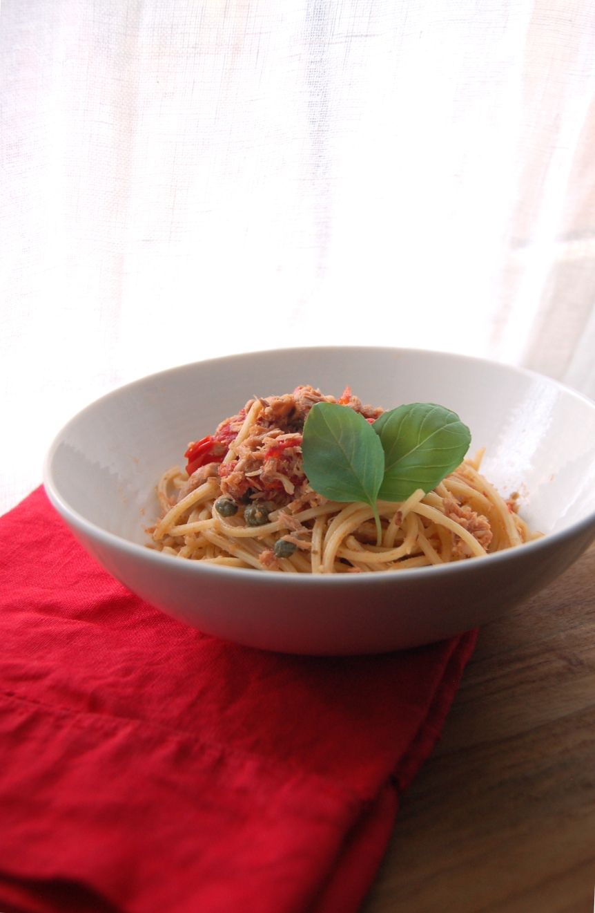 Pasta with Tuna, Tomatoes, Capers, and Basil