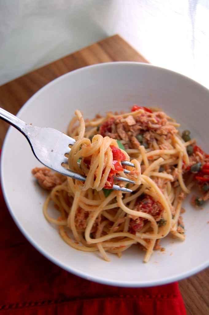 Pasta with Tuna, Tomatoes, Capers, and Basil 2
