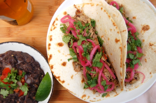 Slow Cooker Carnitas with Pickled Onions and Mexican Black Beans