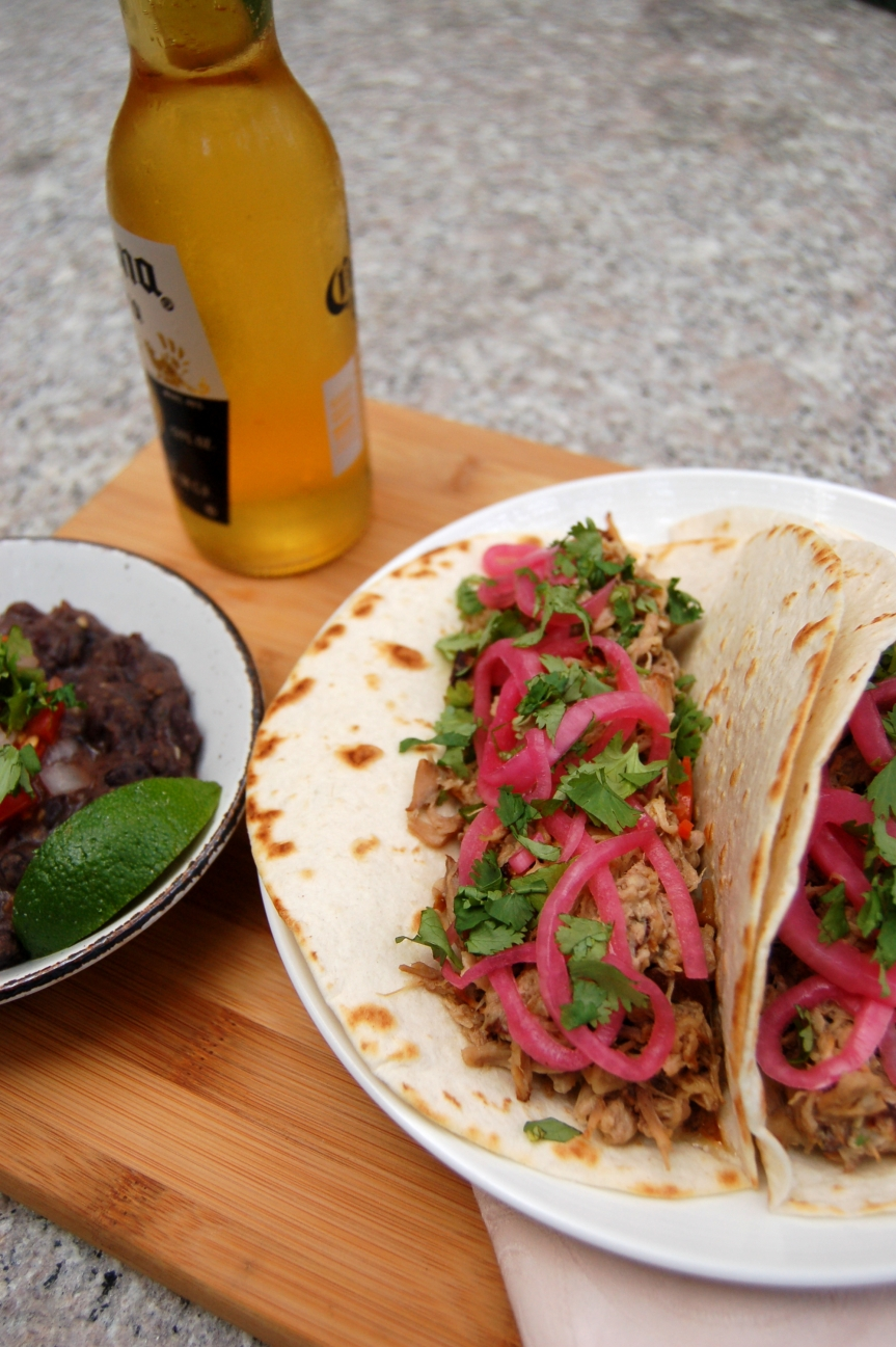 Slow-Cooker Carnitas Dinner Party (+ Pickled Onion & Habanero Salsa and Mexican Black Beans)
